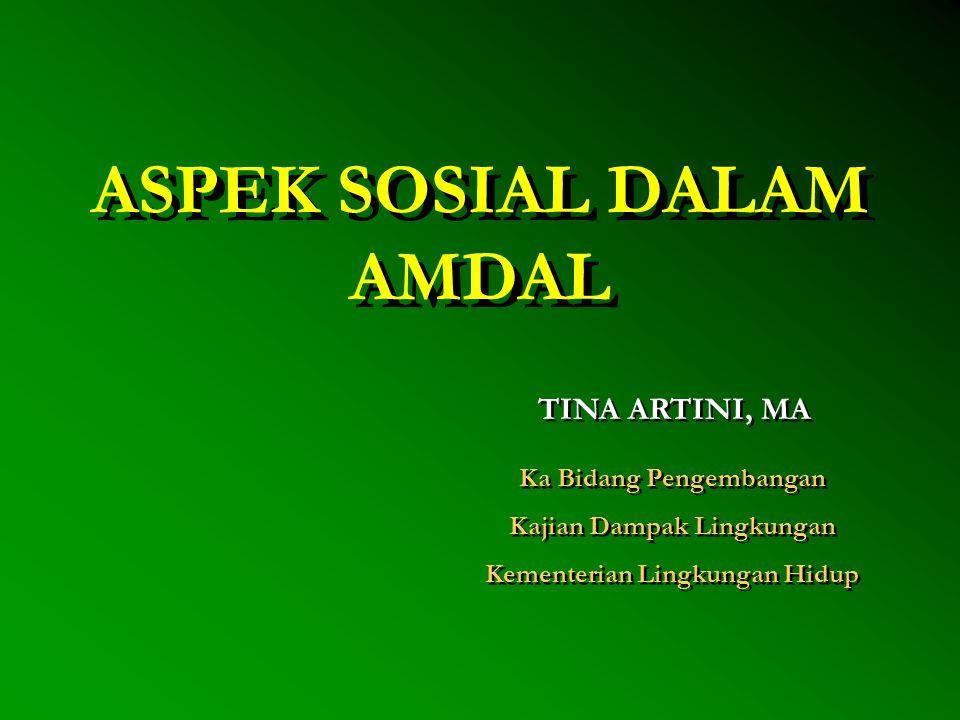 ASPEK SOSIAL DALAM AMDAL TINA ARTINI, MA Ka Bidang Pengembangan Kajian Dampak Lingkungan Kementerian Lingkungan Hidup Ka Bidang Pengembangan Kajian Da
