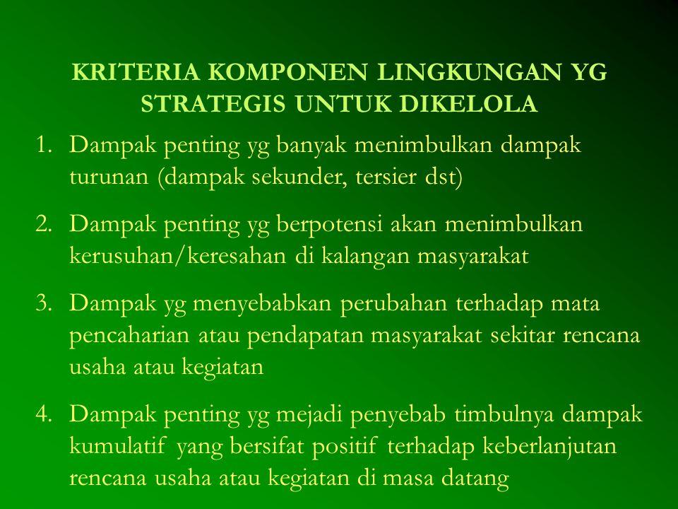 KRITERIA KOMPONEN LINGKUNGAN YG STRATEGIS UNTUK DIKELOLA 1.Dampak penting yg banyak menimbulkan dampak turunan (dampak sekunder, tersier dst) 2.Dampak