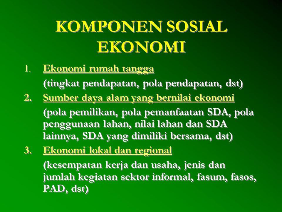 KOMPONEN SOSIAL BUDAYA 1.Adat istiadat (tata nilai, norma, kepercayaan) 2.Proses sosial (proses asosiatif, disosiatif, akulturasi, dll) 3.Pranata sosial (ekonomi:hak ulayat, agama, pendidikan, dll) 4.Warisan budaya (situs purbakala, cagar budaya) 5.Pelapisan sosial (pendidikan, ekonomi, kekuasaan) 6.Kekuasaan dan wewenang (kepemimpinan formal - non formal, kelomok yang dominan, dll) 7.Sikap dan persepsi masyarakat 8.Adaptasi ekologi 1.Adat istiadat (tata nilai, norma, kepercayaan) 2.Proses sosial (proses asosiatif, disosiatif, akulturasi, dll) 3.Pranata sosial (ekonomi:hak ulayat, agama, pendidikan, dll) 4.Warisan budaya (situs purbakala, cagar budaya) 5.Pelapisan sosial (pendidikan, ekonomi, kekuasaan) 6.Kekuasaan dan wewenang (kepemimpinan formal - non formal, kelomok yang dominan, dll) 7.Sikap dan persepsi masyarakat 8.Adaptasi ekologi
