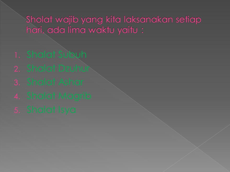 1. Shalat Subuh 2. Shalat Dzuhur 3. Shalat Ashar 4. Shalat Magrib 5. Shalat Isya