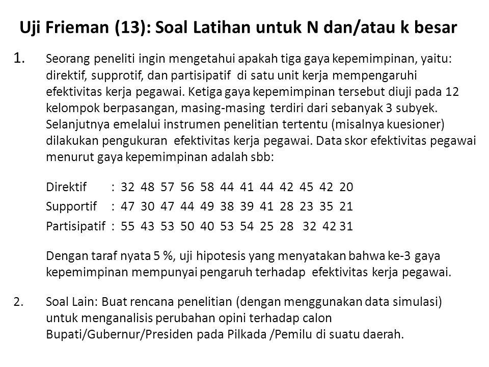 Uji Frieman (13): Soal Latihan untuk N dan/atau k besar 1. Seorang peneliti ingin mengetahui apakah tiga gaya kepemimpinan, yaitu: direktif, supprotif