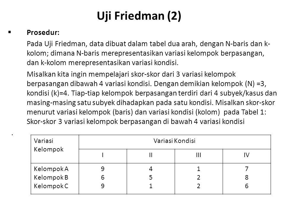 Uji Friedman (3)  Tahapan prosedur: Untuk melakukan Uji Friedman dengan data pada Tabel 1, maka dilakukan tahapan prosedur sebagai berikut: 1)Berikan ranking kepada skor-skor dalam setiap baris dari 1 sampai k, dengan rangking 1 untuk skor yang terendah, rangking 2 untuk skor terendah berikutnya, …, rangking k untuk skor tertinggi.