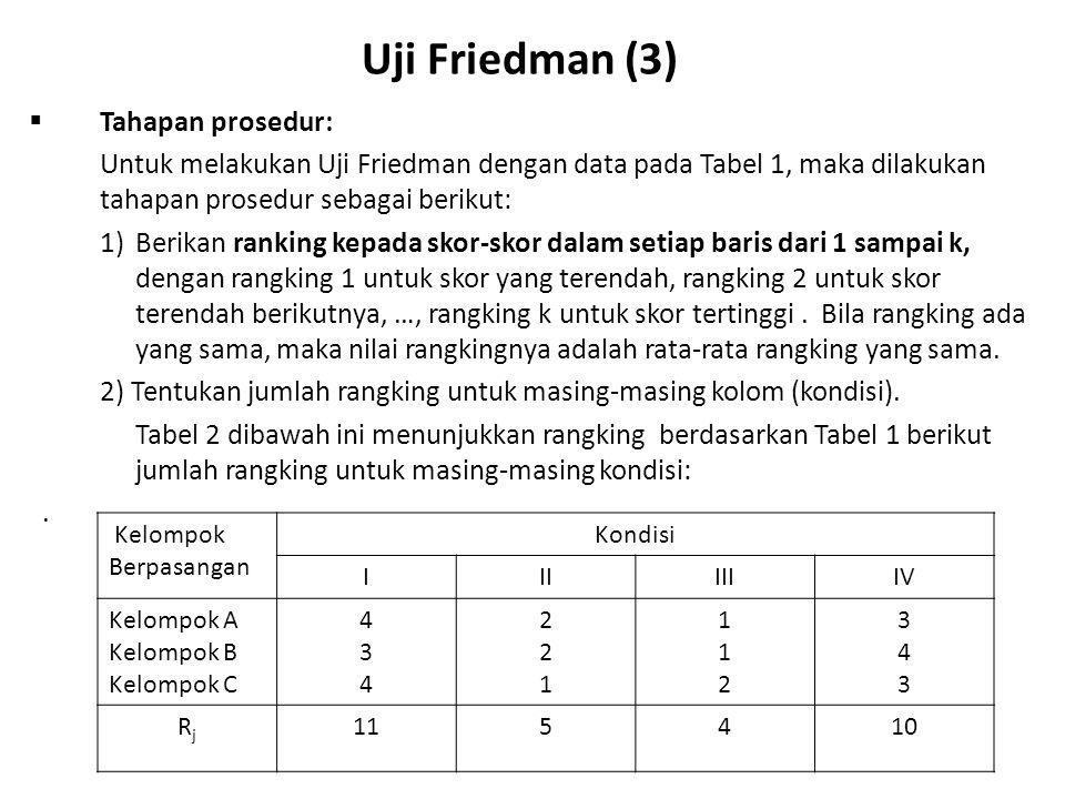 Uji Friedman (4)  Tahapan Prosedur (Lanjutan): Catatan: a)Jika Ho benar atau semua subyek menurut kondisi (kolom) berasal dari populasi yang sama, maka distribusi ranking pada tiap-tiap kolom hanyalah tersusun secara kebetulan.