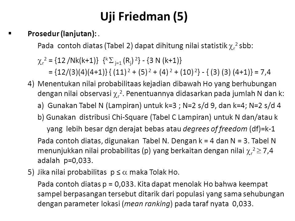 Uji Friedman (6)  Langkah-langkah Uji Friedman: 1.Rumuskan Hipotesa Ho: k-sampel berpasangan berasal dari populasi yang sama Ha: k-sampel berpasangan berasal dari populasi yang berbeda 2.Tentukan Uji Statistik-nya, sesuai rumusan hipotesa dan skala data  alasan menggunakan Uji Friedman 3.Tentukan taraf nyata (  ) 4.Tentukan distribusi sampling 5.Tentukan daerah tolak 6.Buat keputusan