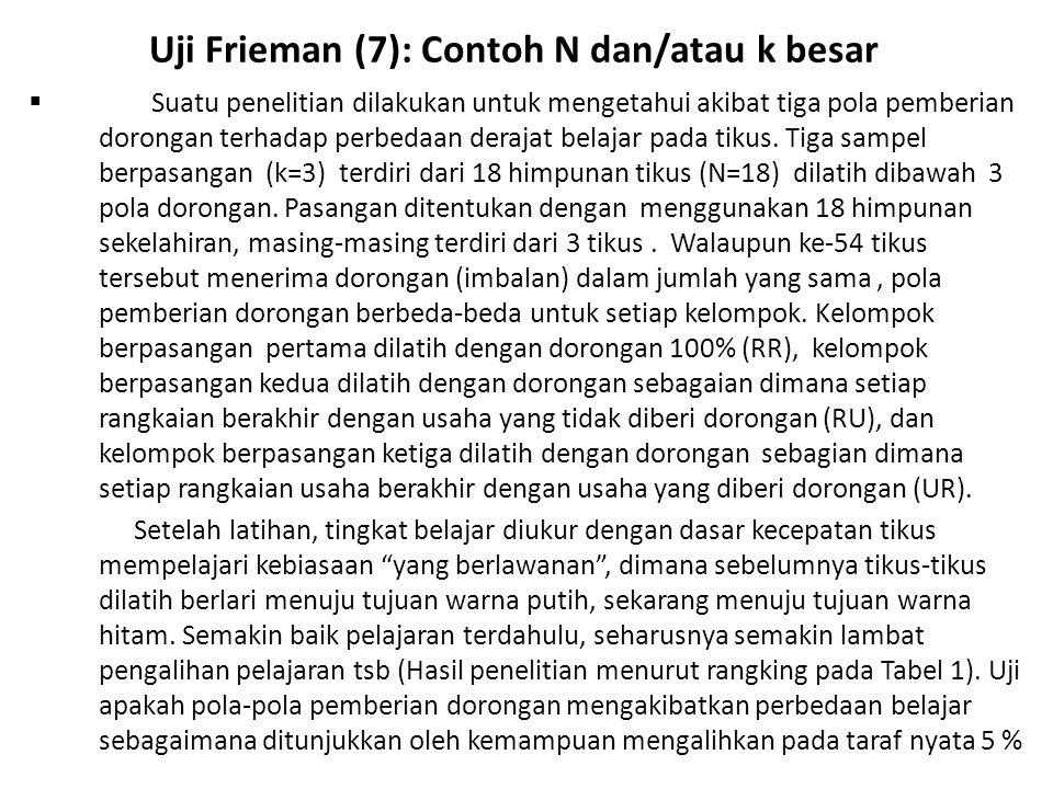 Uji Frieman (7): Contoh N dan/atau k besar  Suatu penelitian dilakukan untuk mengetahui akibat tiga pola pemberian dorongan terhadap perbedaan deraja