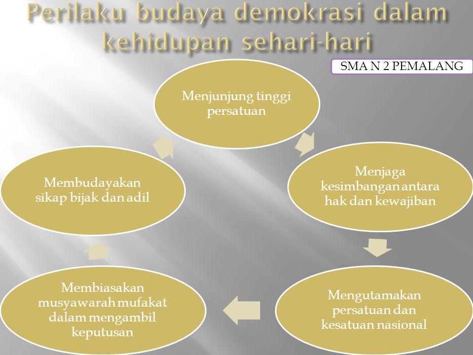 Menjunjung tinggi persatuan Menjaga kesimbangan antara hak dan kewajiban Mengutamakan persatuan dan kesatuan nasional Membiasakan musyawarah mufakat dalam mengambil keputusan Membudayakan sikap bijak dan adil SMA N 2 PEMALANG