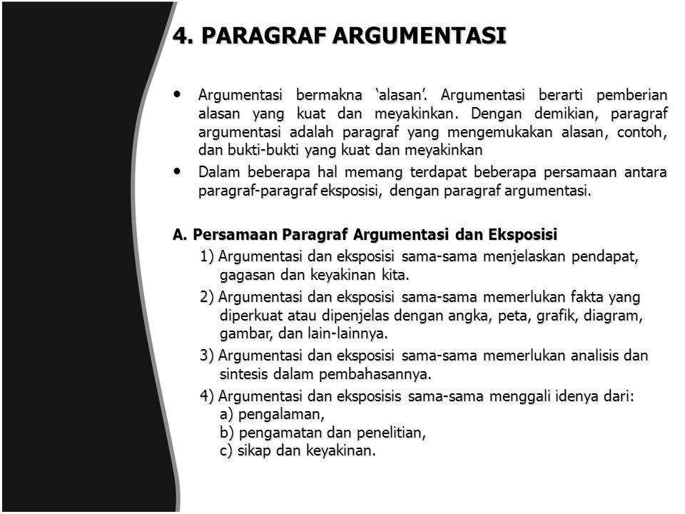 4. PARAGRAF ARGUMENTASI Argumentasi bermakna 'alasan'. Argumentasi berarti pemberian alasan yang kuat dan meyakinkan. Dengan demikian, paragraf argume