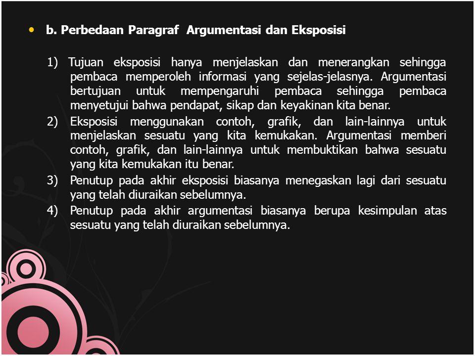 b. Perbedaan Paragraf Argumentasi dan Eksposisi 1) Tujuan eksposisi hanya menjelaskan dan menerangkan sehingga pembaca memperoleh informasi yang sejel