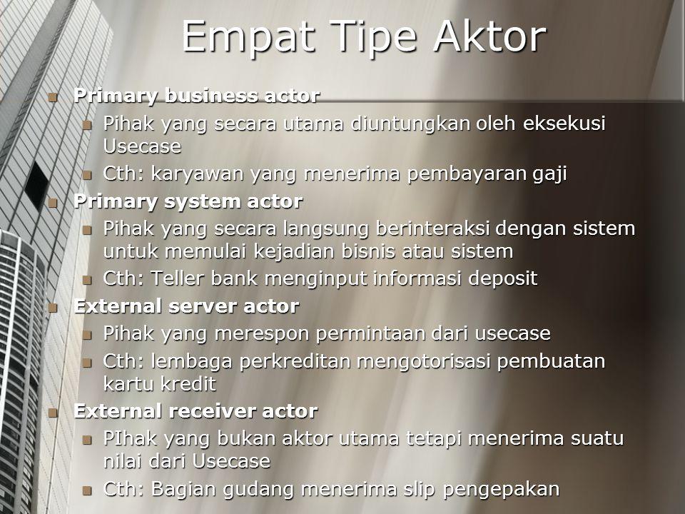 Empat Tipe Aktor Primary business actor Primary business actor Pihak yang secara utama diuntungkan oleh eksekusi Usecase Pihak yang secara utama diunt