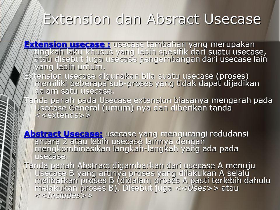Extension dan Absract Usecase Extension usecase : usecase tambahan yang merupakan tingkah laku khusus yang lebih spesifik dari suatu usecase, atau dis