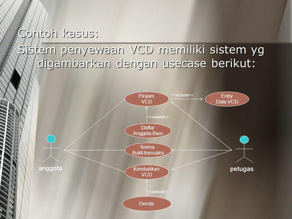 Contoh kasus: Sistem penyewaan VCD memiliki sistem yg digambarkan dengan usecase berikut: Pinjam VCD Daftar Anggota Baru > Terima Bukti transaksi Dend