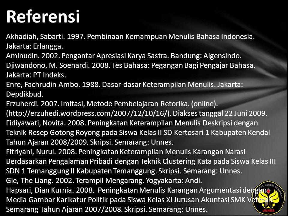 Referensi Akhadiah, Sabarti. 1997. Pembinaan Kemampuan Menulis Bahasa Indonesia.