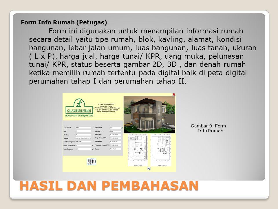 HASIL DAN PEMBAHASAN Form Info Rumah (Petugas) Form ini digunakan untuk menampilan informasi rumah secara detail yaitu tipe rumah, blok, kavling, alam