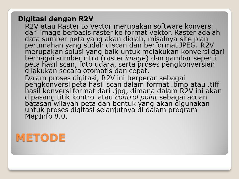 METODE Digitasi dengan R2V R2V atau Raster to Vector merupakan software konversi dari image berbasis raster ke format vektor. Raster adalah data sumbe