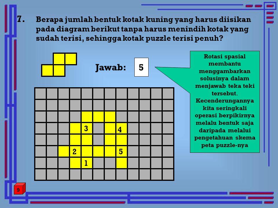 7. Berapa jumlah bentuk kotak kuning yang harus diisikan pada diagram berikut tanpa harus menindih kotak yang sudah terisi, sehingga kotak puzzle teri