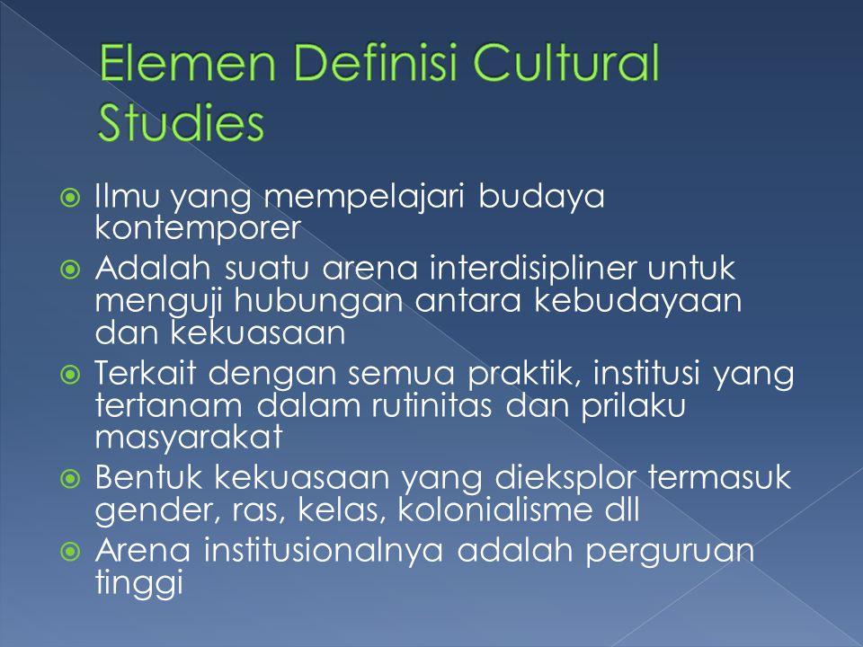  Ilmu yang mempelajari budaya kontemporer  Adalah suatu arena interdisipliner untuk menguji hubungan antara kebudayaan dan kekuasaan  Terkait denga
