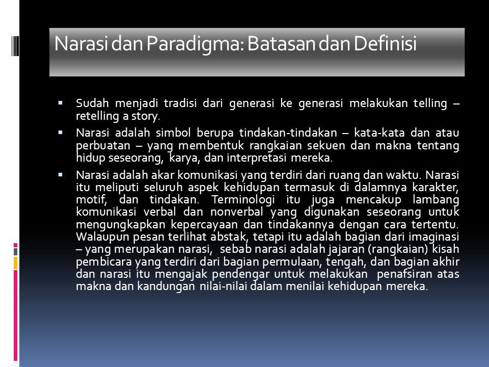 Narasi dan Paradigma: Batasan dan Definisi  Sudah menjadi tradisi dari generasi ke generasi melakukan telling – retelling a story.  Narasi adalah si