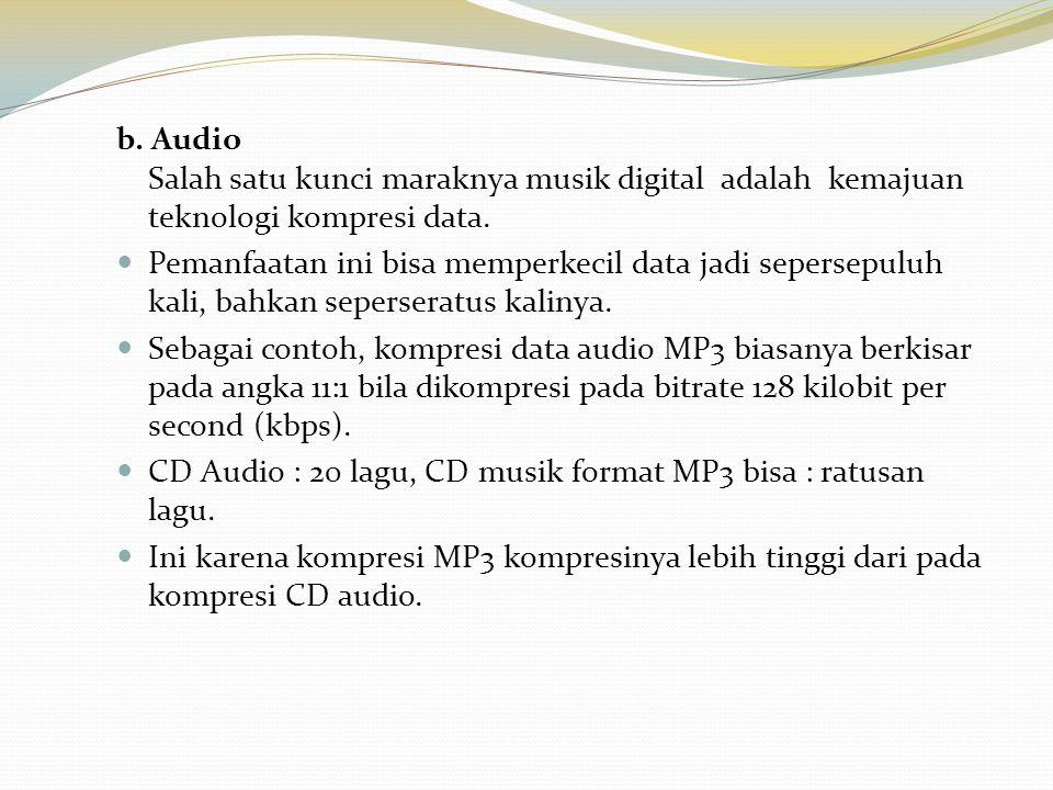b. Audio Salah satu kunci maraknya musik digital adalah kemajuan teknologi kompresi data. Pemanfaatan ini bisa memperkecil data jadi sepersepuluh kali