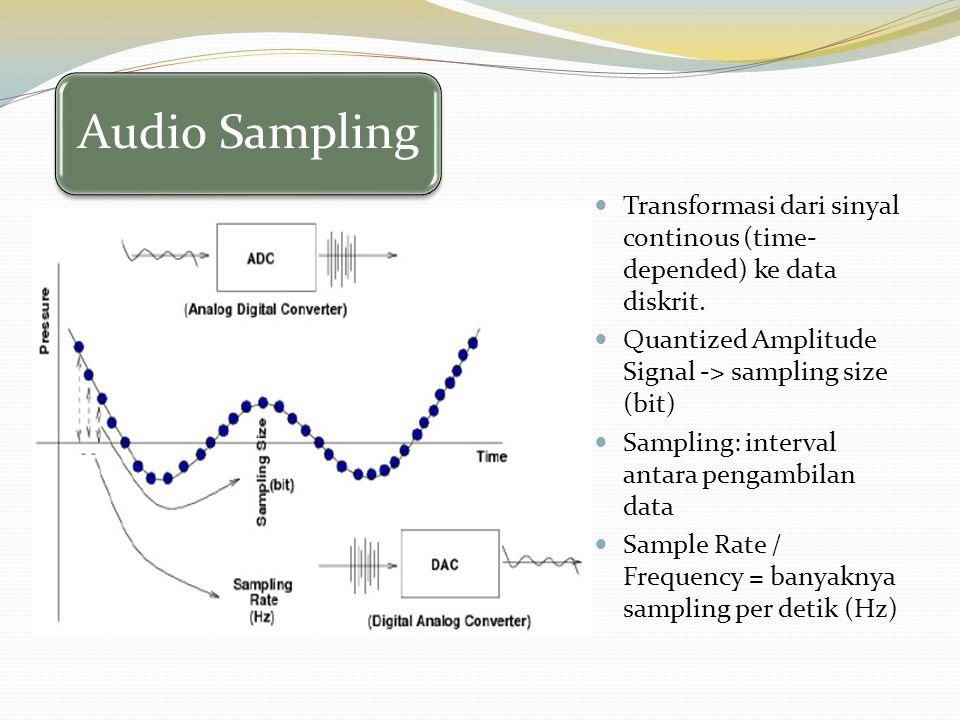 Audio Sampling Transformasi dari sinyal continous (time- depended) ke data diskrit. Quantized Amplitude Signal -> sampling size (bit) Sampling: interv