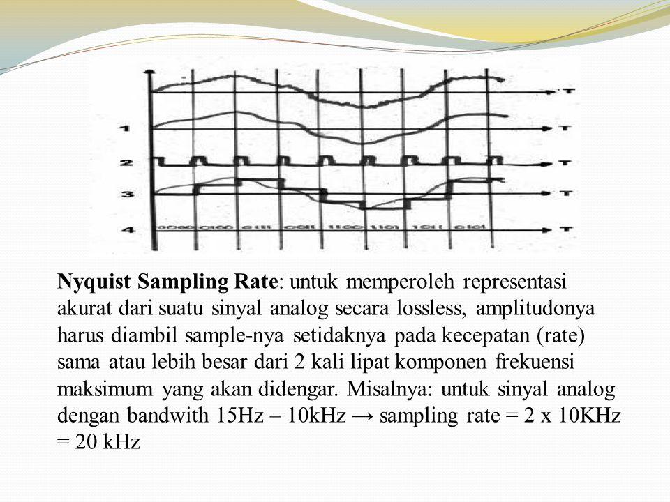 Nyquist Sampling Rate: untuk memperoleh representasi akurat dari suatu sinyal analog secara lossless, amplitudonya harus diambil sample-nya setidaknya