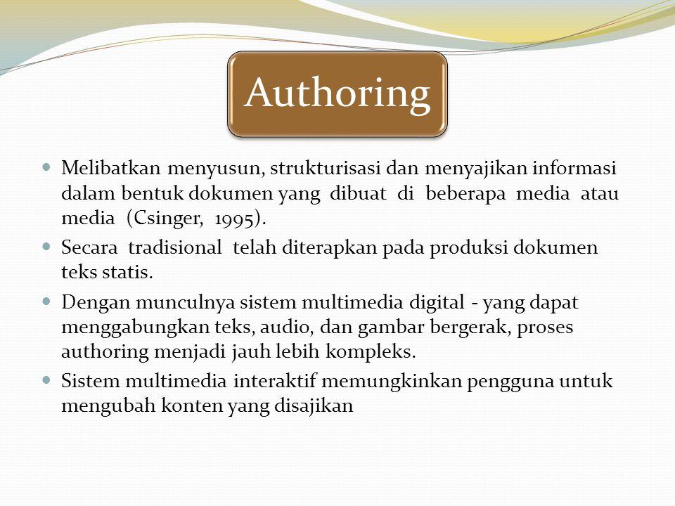 Authoring Melibatkan menyusun, strukturisasi dan menyajikan informasi dalam bentuk dokumen yang dibuat di beberapa media atau media (Csinger, 1995). S