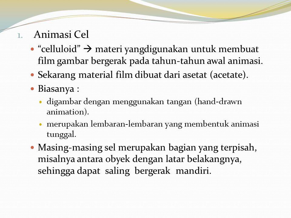 """1. Animasi Cel """"celluloid""""  materi yangdigunakan untuk membuat film gambar bergerak pada tahun-tahun awal animasi. Sekarang material film dibuat dari"""
