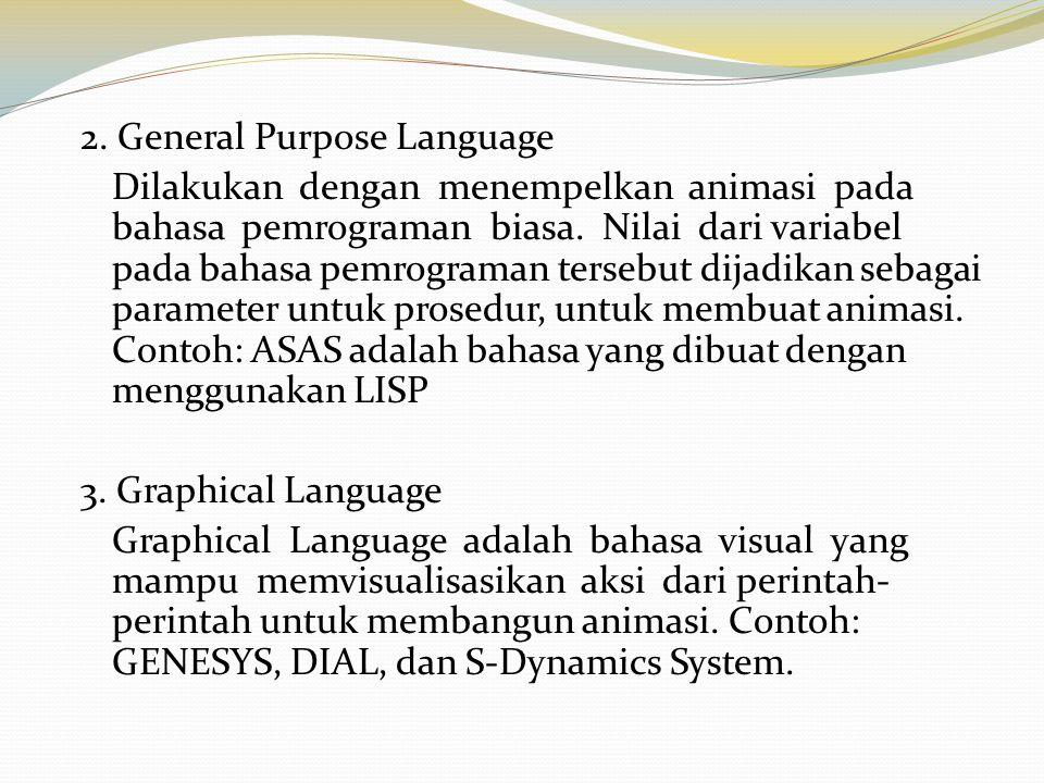 2. General Purpose Language Dilakukan dengan menempelkan animasi pada bahasa pemrograman biasa. Nilai dari variabel pada bahasa pemrograman tersebut d