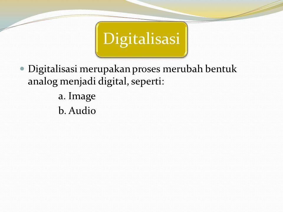 Digitalisasi Digitalisasi merupakan proses merubah bentuk analog menjadi digital, seperti: a. Image b. Audio