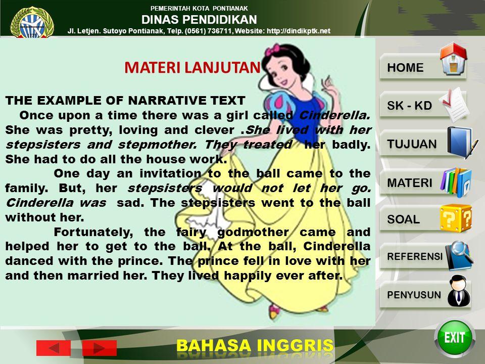 PEMERINTAH KOTA PONTIANAK DINAS PENDIDIKAN Jl. Letjen. Sutoyo Pontianak, Telp. (0561) 736711, Website: http://dindikptk.net 6 Kind of Narrative text :