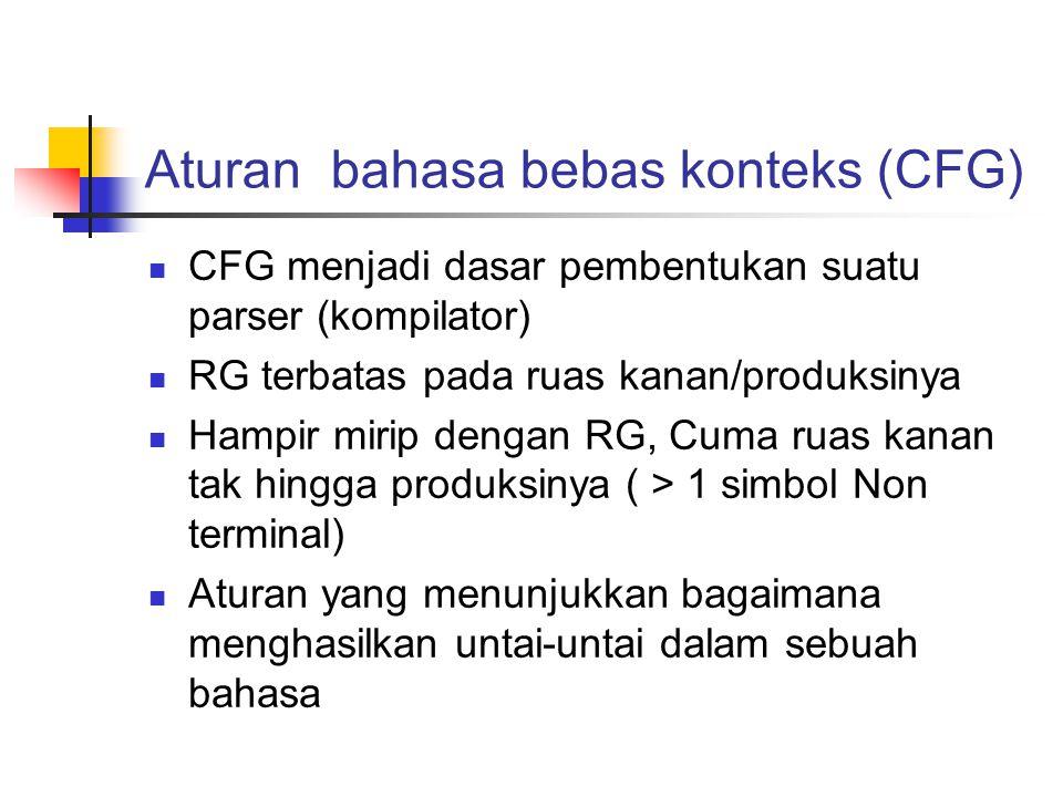 Aturan bahasa bebas konteks (CFG) CFG menjadi dasar pembentukan suatu parser (kompilator) RG terbatas pada ruas kanan/produksinya Hampir mirip dengan