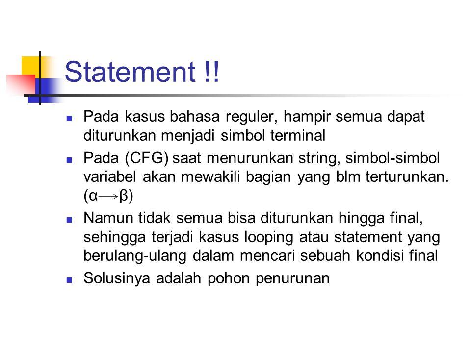 Statement !! Pada kasus bahasa reguler, hampir semua dapat diturunkan menjadi simbol terminal Pada (CFG) saat menurunkan string, simbol-simbol variabe