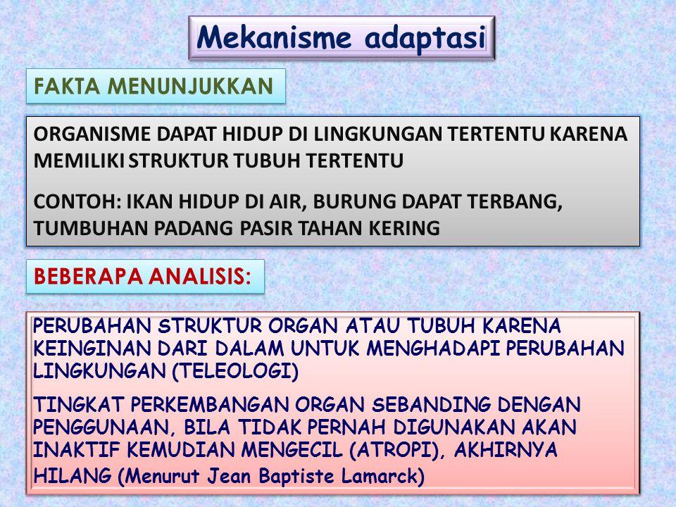 Mekanisme adaptasi ORGANISME DAPAT HIDUP DI LINGKUNGAN TERTENTU KARENA MEMILIKI STRUKTUR TUBUH TERTENTU CONTOH: IKAN HIDUP DI AIR, BURUNG DAPAT TERBANG, TUMBUHAN PADANG PASIR TAHAN KERING ORGANISME DAPAT HIDUP DI LINGKUNGAN TERTENTU KARENA MEMILIKI STRUKTUR TUBUH TERTENTU CONTOH: IKAN HIDUP DI AIR, BURUNG DAPAT TERBANG, TUMBUHAN PADANG PASIR TAHAN KERING PERUBAHAN STRUKTUR ORGAN ATAU TUBUH KARENA KEINGINAN DARI DALAM UNTUK MENGHADAPI PERUBAHAN LINGKUNGAN (TELEOLOGI) TINGKAT PERKEMBANGAN ORGAN SEBANDING DENGAN PENGGUNAAN, BILA TIDAK PERNAH DIGUNAKAN AKAN INAKTIF KEMUDIAN MENGECIL (ATROPI), AKHIRNYA HILANG (Menurut Jean Baptiste Lamarck) PERUBAHAN STRUKTUR ORGAN ATAU TUBUH KARENA KEINGINAN DARI DALAM UNTUK MENGHADAPI PERUBAHAN LINGKUNGAN (TELEOLOGI) TINGKAT PERKEMBANGAN ORGAN SEBANDING DENGAN PENGGUNAAN, BILA TIDAK PERNAH DIGUNAKAN AKAN INAKTIF KEMUDIAN MENGECIL (ATROPI), AKHIRNYA HILANG (Menurut Jean Baptiste Lamarck)