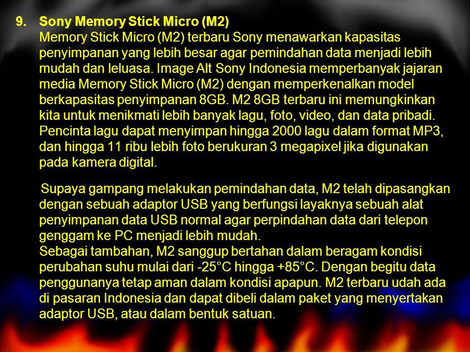 9.Sony Memory Stick Micro (M2) Memory Stick Micro (M2) terbaru Sony menawarkan kapasitas penyimpanan yang lebih besar agar pemindahan data menjadi lebih mudah dan leluasa.