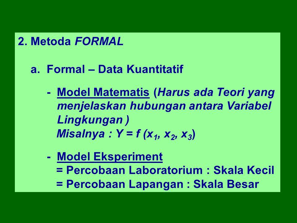 2. Metoda FORMAL a. Formal – Data Kuantitatif - Model Matematis (Harus ada Teori yang menjelaskan hubungan antara Variabel Lingkungan ) Misalnya : Y =