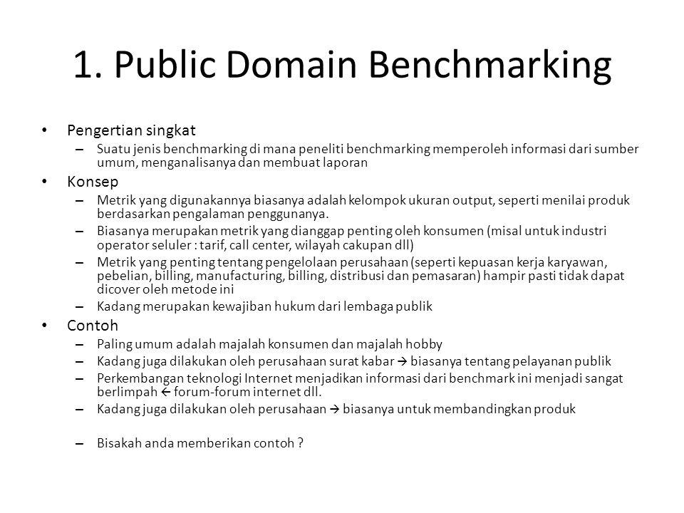 1. Public Domain Benchmarking Pengertian singkat – Suatu jenis benchmarking di mana peneliti benchmarking memperoleh informasi dari sumber umum, menga