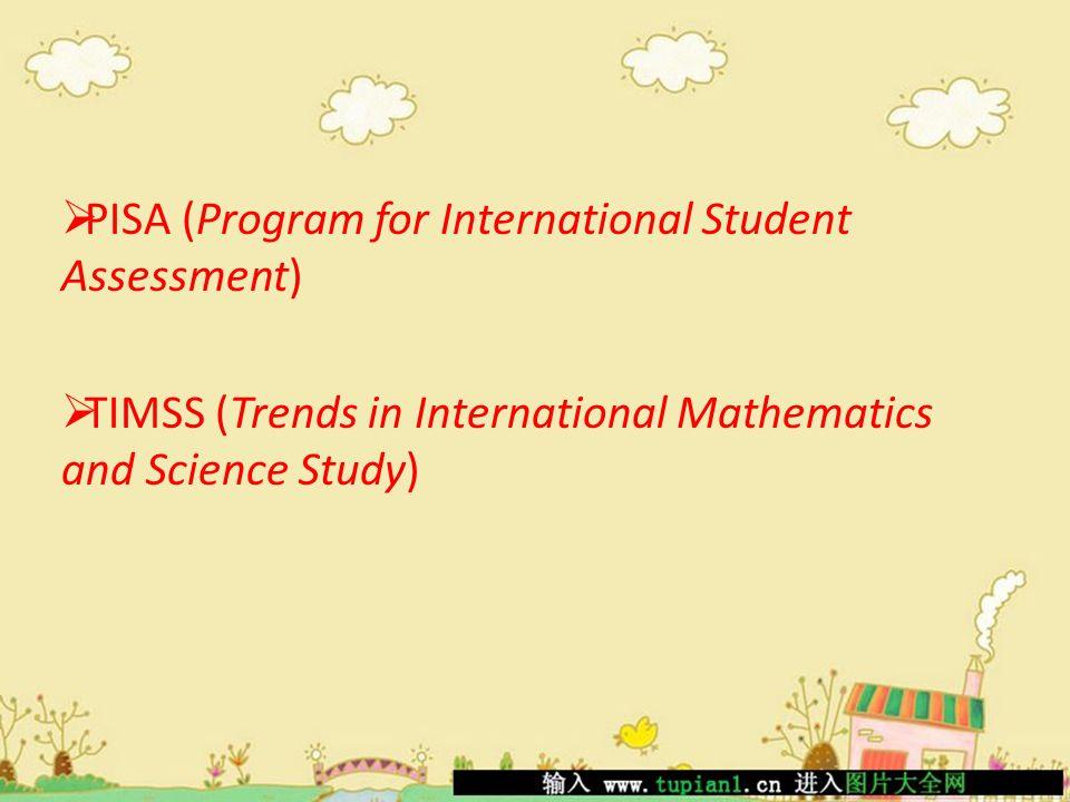 PISA Berdasarkan analisis hasil PISA 2009, ditemukan bahwa dari 6 (enam) level kemampuan yang dirumuskan di dalam studi PISA, hampir semua peserta didik Indonesia hanya mampu menguasai pelajaran sampai level 3 (tiga) saja, sementara negara lain yang terlibat di dalam studi ini banyak yang mencapai level 4 (empat), 5 (lima), dan 6 (enam).