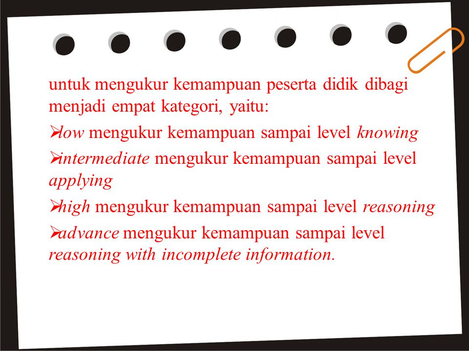 untuk mengukur kemampuan peserta didik dibagi menjadi empat kategori, yaitu:  low mengukur kemampuan sampai level knowing  intermediate mengukur kemampuan sampai level applying  high mengukur kemampuan sampai level reasoning  advance mengukur kemampuan sampai level reasoning with incomplete information.