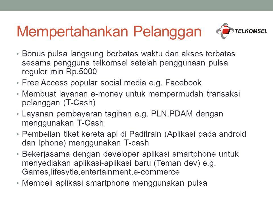 Mempertahankan Pelanggan Bonus pulsa langsung berbatas waktu dan akses terbatas sesama pengguna telkomsel setelah penggunaan pulsa reguler min Rp.5000