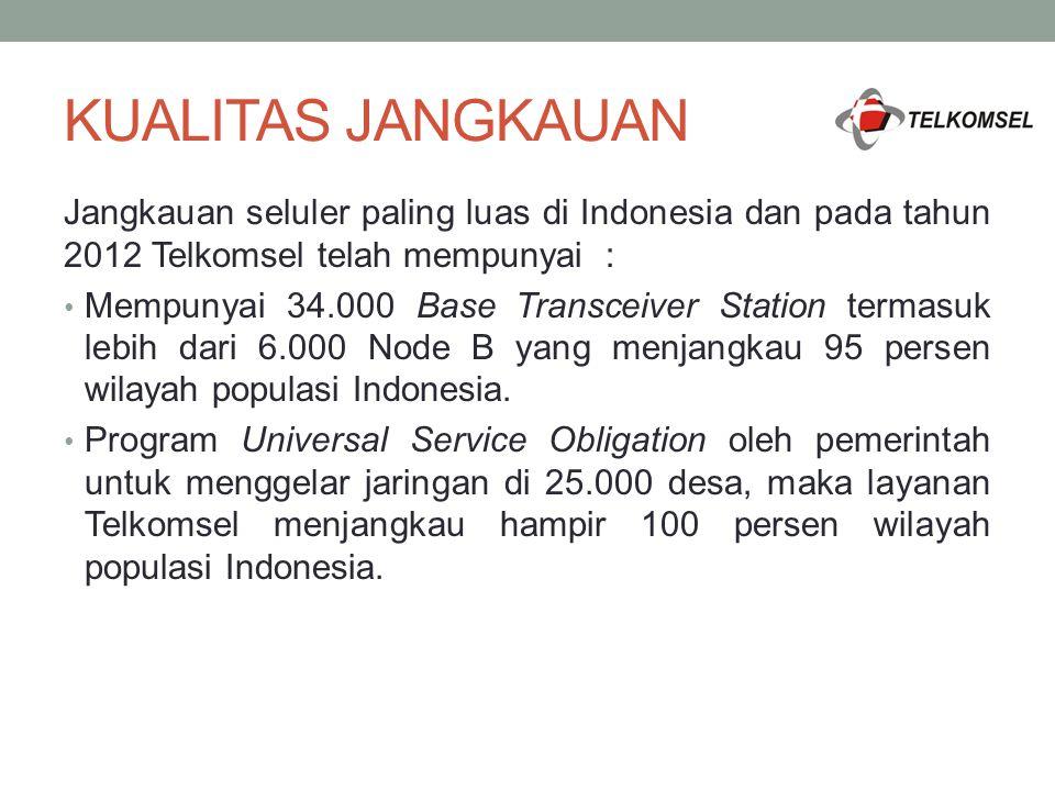 KUALITAS JANGKAUAN Jangkauan seluler paling luas di Indonesia dan pada tahun 2012 Telkomsel telah mempunyai : Mempunyai 34.000 Base Transceiver Statio