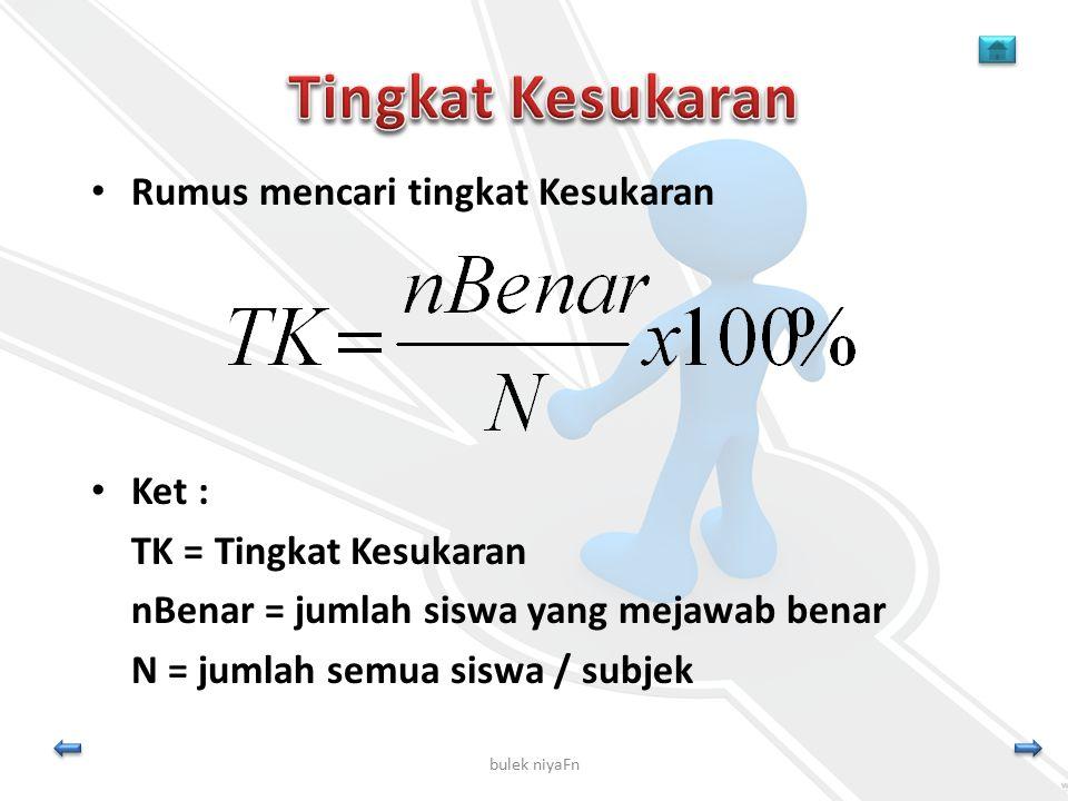 bulek niyaFn Rumus mencari tingkat Kesukaran Ket : TK = Tingkat Kesukaran nBenar = jumlah siswa yang mejawab benar N = jumlah semua siswa / subjek