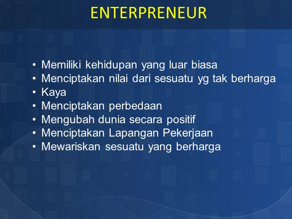 Jika ada sebuah fenomena entrepreneur akan melihat sebagai peluang sedangkan orang biasa melihat sebagai sesuatu yang sulit, negatif, ancaman atau bahkan malah tidak bisa melihat apa-apa.