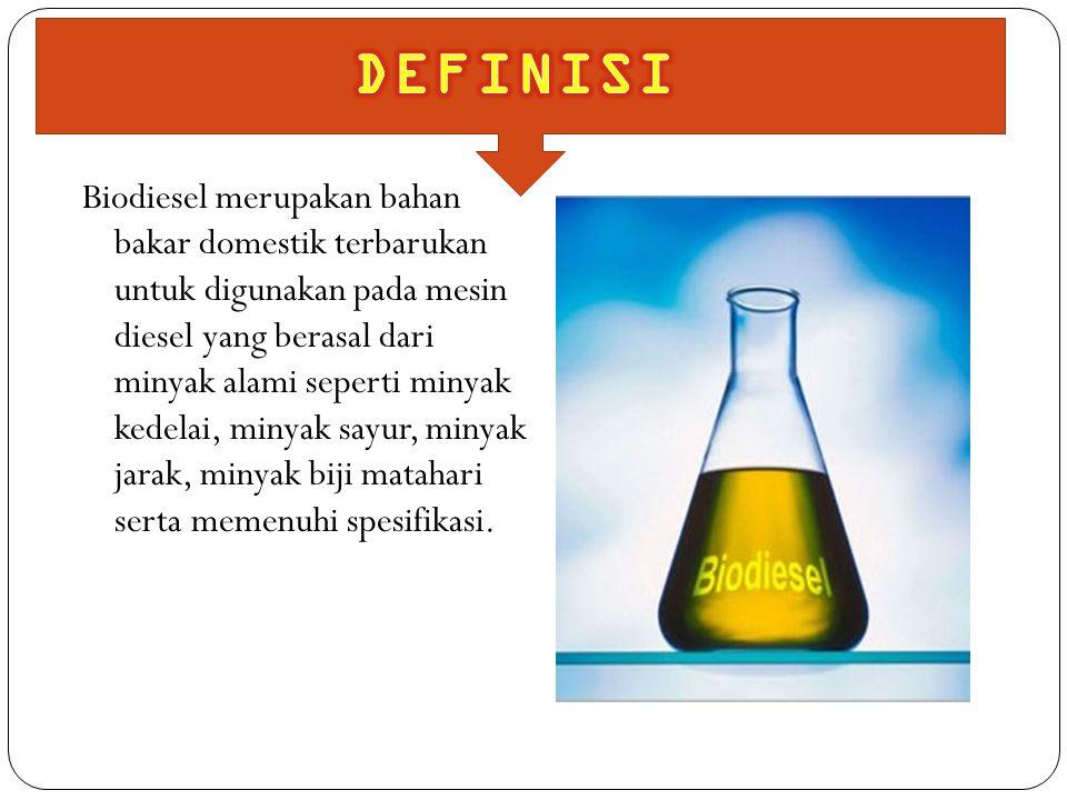 Biodiesel merupakan bahan bakar domestik terbarukan untuk digunakan pada mesin diesel yang berasal dari minyak alami seperti minyak kedelai, minyak sa