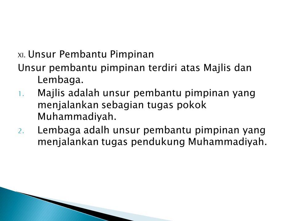 XI. Unsur Pembantu Pimpinan Unsur pembantu pimpinan terdiri atas Majlis dan Lembaga. 1. Majlis adalah unsur pembantu pimpinan yang menjalankan sebagia