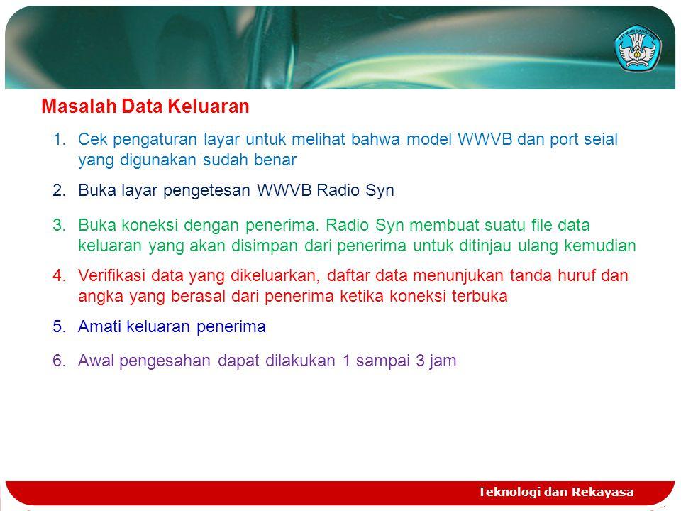 Teknologi dan Rekayasa Masalah Data Keluaran 1.Cek pengaturan layar untuk melihat bahwa model WWVB dan port seial yang digunakan sudah benar 2.Buka layar pengetesan WWVB Radio Syn 3.Buka koneksi dengan penerima.