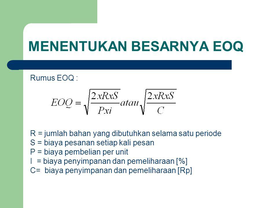 MENENTUKAN BESARNYA EOQ Rumus EOQ : R = jumlah bahan yang dibutuhkan selama satu periode S = biaya pesanan setiap kali pesan P = biaya pembelian per unit I = biaya penyimpanan dan pemeliharaan [%] C= biaya penyimpanan dan pemeliharaan [Rp]