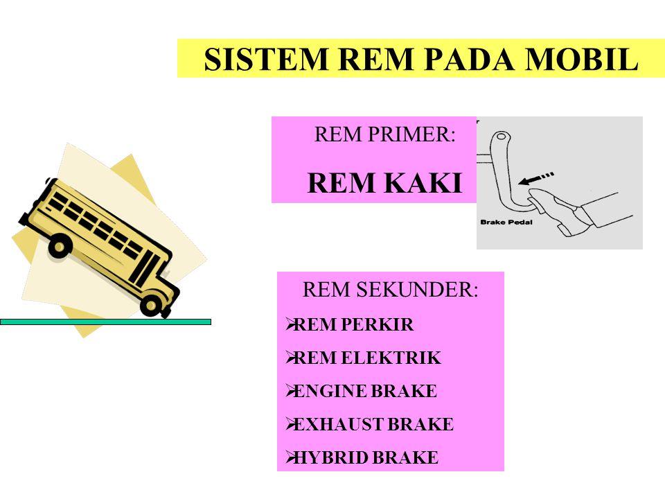 SISTEM REM PADA MOBIL REM PRIMER: REM KAKI REM SEKUNDER:  REM PERKIR  REM ELEKTRIK  ENGINE BRAKE  EXHAUST BRAKE  HYBRID BRAKE