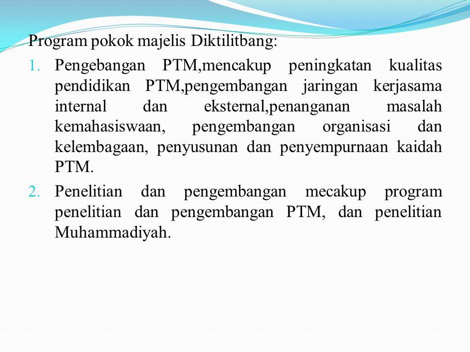 Program pokok majelis Diktilitbang: 1.