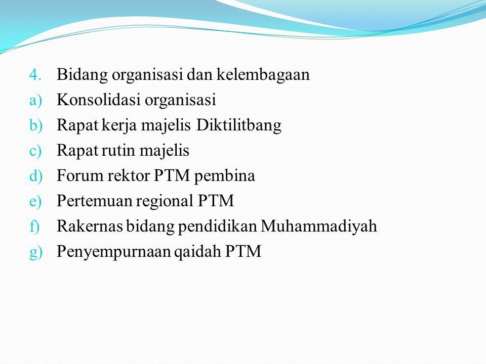 4. Bidang organisasi dan kelembagaan a) Konsolidasi organisasi b) Rapat kerja majelis Diktilitbang c) Rapat rutin majelis d) Forum rektor PTM pembina