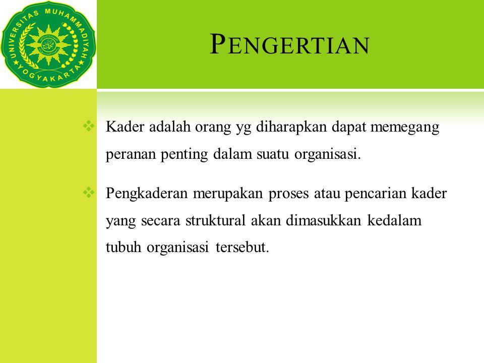 P ENGERTIAN  Kader adalah orang yg diharapkan dapat memegang peranan penting dalam suatu organisasi.  Pengkaderan merupakan proses atau pencarian ka