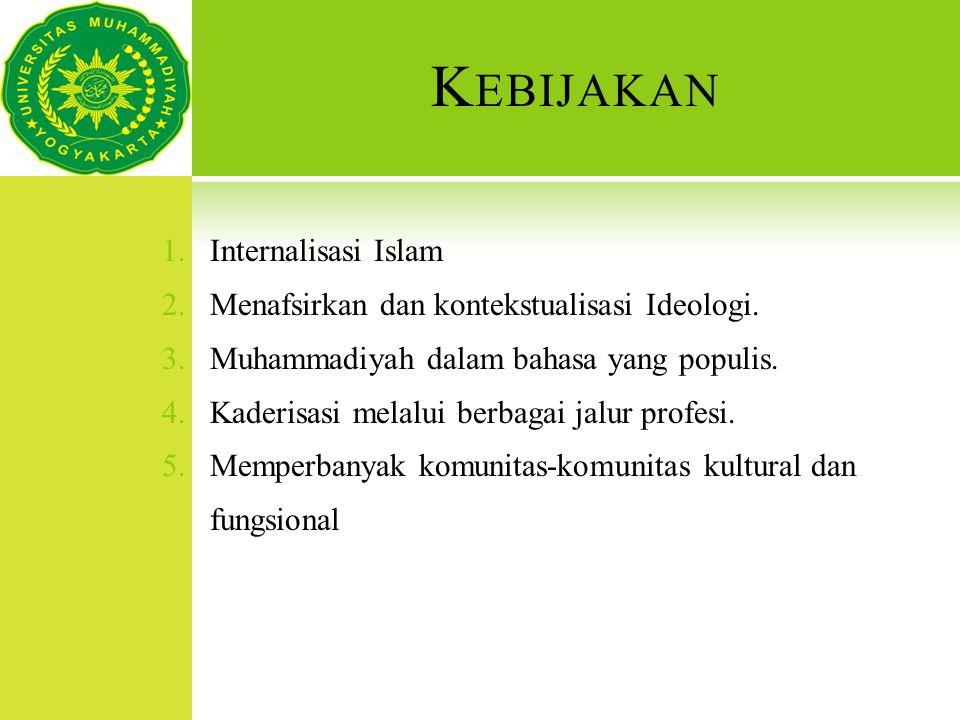K EBIJAKAN 1.Internalisasi Islam 2.Menafsirkan dan kontekstualisasi Ideologi. 3.Muhammadiyah dalam bahasa yang populis. 4.Kaderisasi melalui berbagai